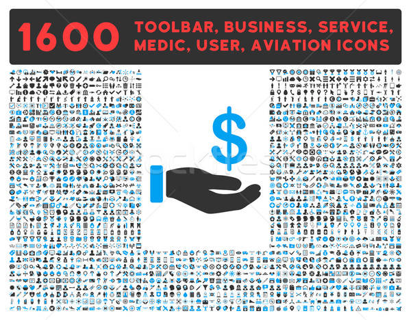 Earnings Icon with Large Pictogram Collection Stock photo © ahasoft