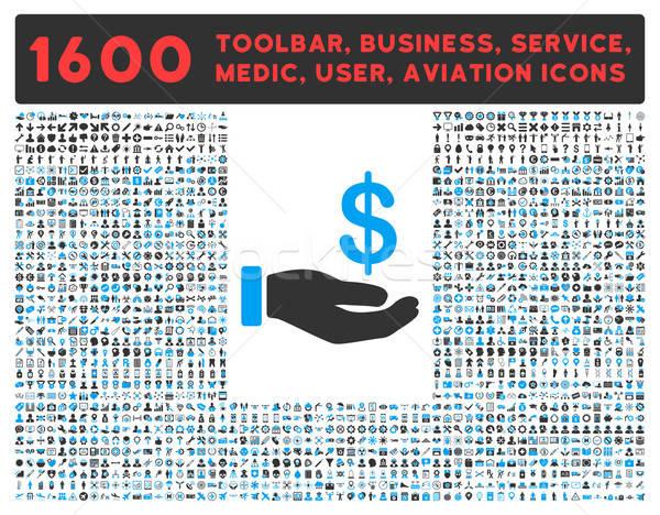 Inkomsten icon groot pictogram collectie vector Stockfoto © ahasoft