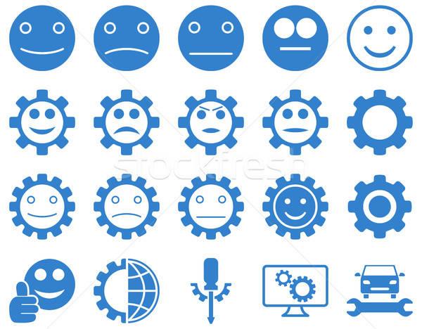 Tools glimlach versnellingen iconen vector ingesteld Stockfoto © ahasoft
