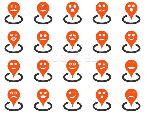 Stock photo: Smiled location icons