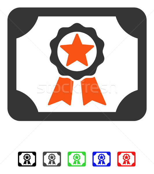 Gunning diploma icon vector pictogram gekleurd Stockfoto © ahasoft