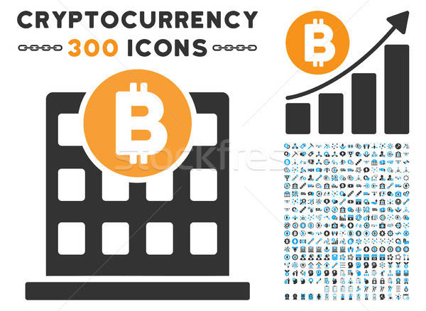 Bitcoin Office Building Flat Icon with Set Stock photo © ahasoft