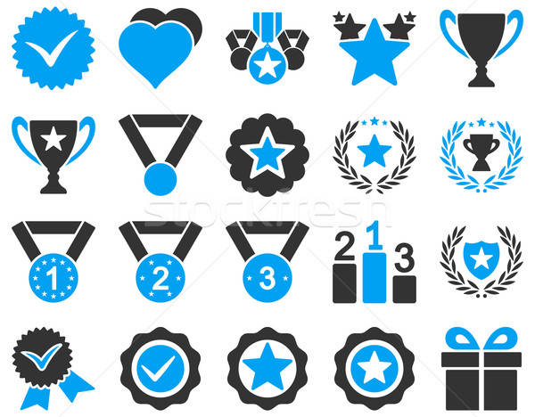 Stock photo: Competition and Success Bicolor Icons