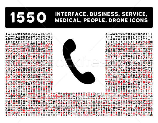 Phone Icon and More Interface, Business, Tools, People, Medical, Awards Flat Glyph Icons Stock photo © ahasoft