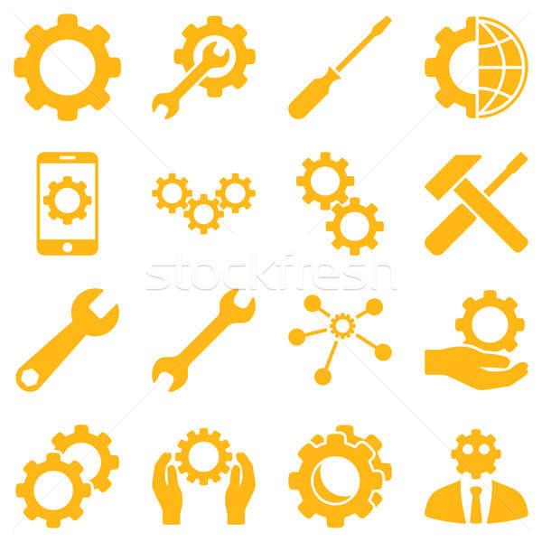 Lehetőségek szolgáltatás szerszámok ikon gyűjtemény stílus szimbólumok Stock fotó © ahasoft