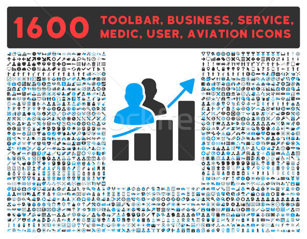 Audience Growth Icon with Large Pictogram Collection Stock photo © ahasoft