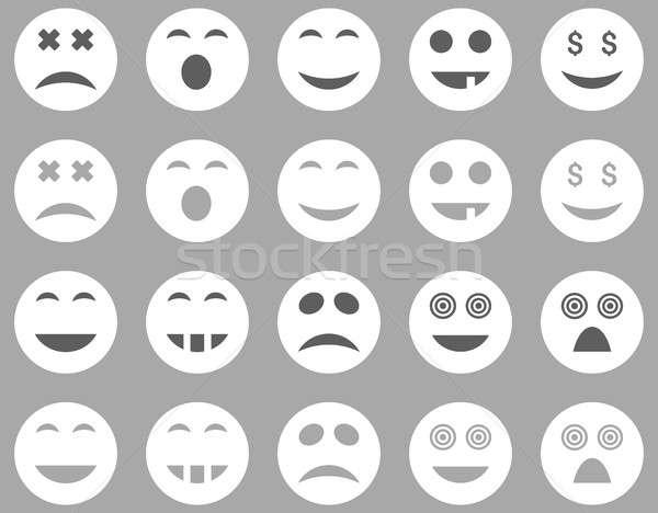 улыбка эмоций иконки набор стиль Сток-фото © ahasoft