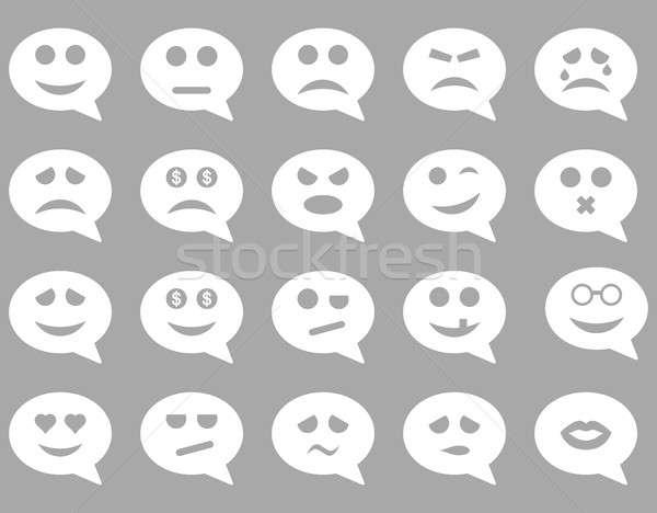 Stockfoto: Chat · emotie · glimlach · iconen · ingesteld · stijl
