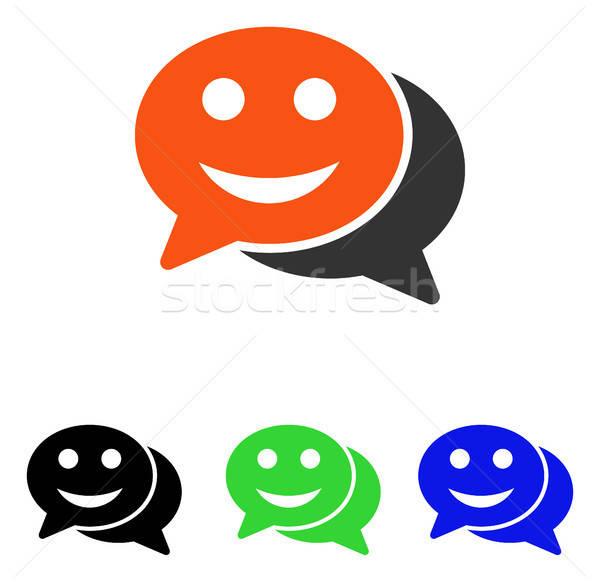 Szczęśliwy chat wektora ikona ilustracja stylu Zdjęcia stock © ahasoft