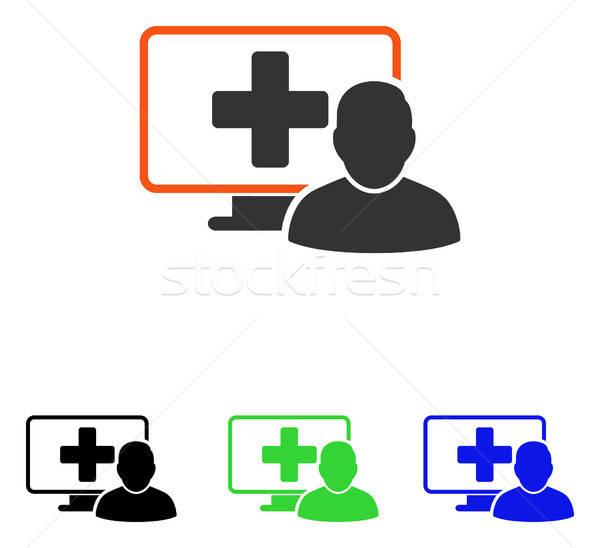 онлайн медицина вектора икона пиктограммы иллюстрация Сток-фото © ahasoft