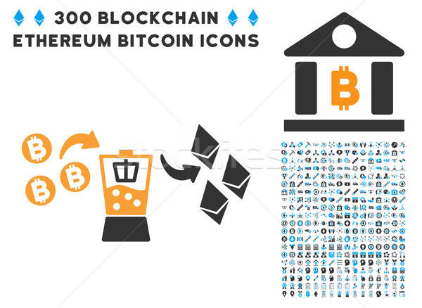 Bitcoin Ethereum Mixer Flat Icon with Stock photo © ahasoft