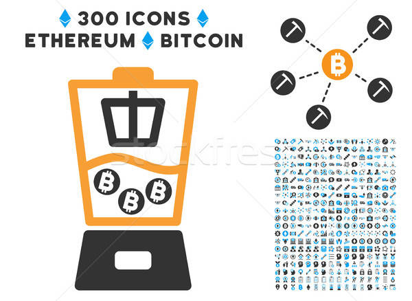 Bitcoin Mixer Flat Icon with Set Stock photo © ahasoft