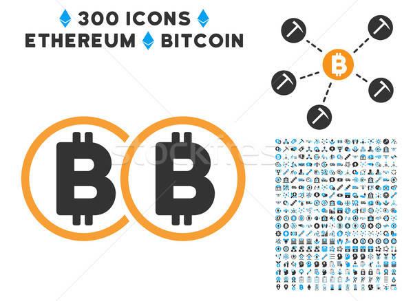 Doble bitcoin icono inteligentes contrato Foto stock © ahasoft