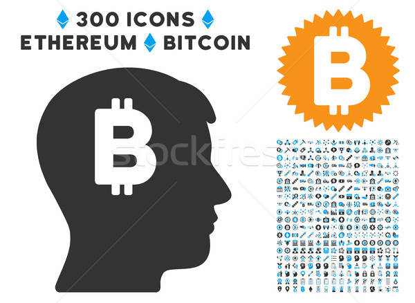 Mental Bitcoin Flat Icon with Clip Art Stock photo © ahasoft