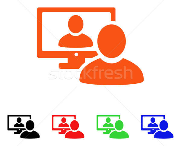 Online video chat vector icon stijl Stockfoto © ahasoft