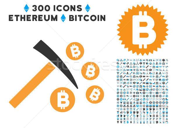 Bitcoin Mining Hammer Flat Icon with Set Stock photo © ahasoft