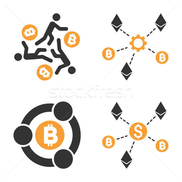 Cryptocurrency Collaboration Vector Icon Set Stock photo © ahasoft