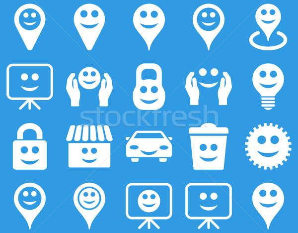 Szerszámok lehetőségek mosoly tárgyak ikonok szett Stock fotó © ahasoft