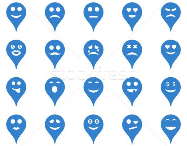 Emotie kaart fiche iconen vector ingesteld Stockfoto © ahasoft