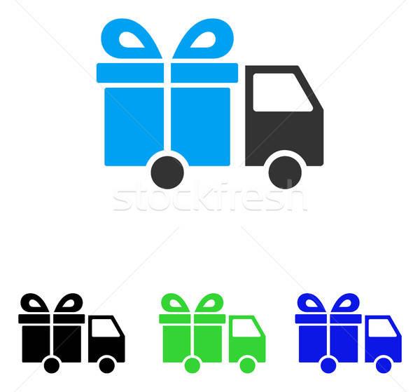 Ajándék kisteherautó vektor ikon piktogram illusztráció Stock fotó © ahasoft