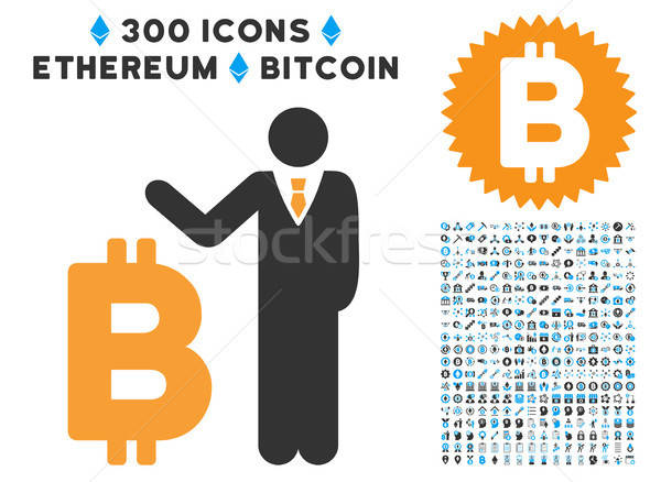 Bitcoin Banker Flat Icon with Clip Art Stock photo © ahasoft