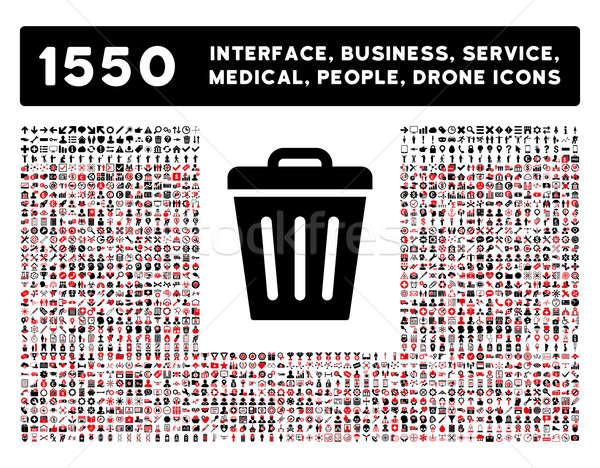Cesto de lixo ícone mais interface negócio ferramentas Foto stock © ahasoft