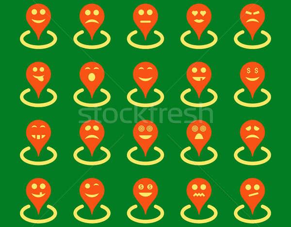 Lokalizacja ikona zestaw stylu zdjęcia pomarańczowy Zdjęcia stock © ahasoft