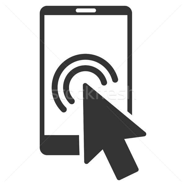 Сток-фото: стрелка · удвоится · щелчок · смартфон · икона · серый