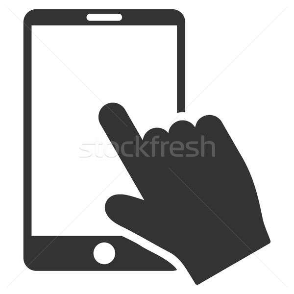 érintés okostelefon ikon szürke szimbólum piktogram Stock fotó © ahasoft