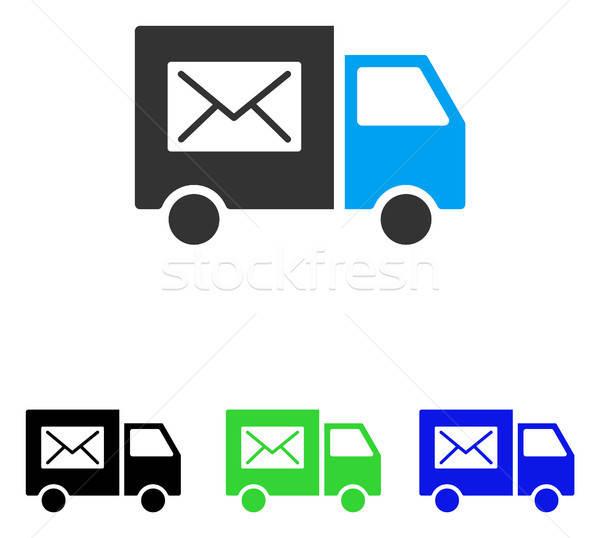 Posta kisteherautó vektor ikon illusztráció stílus Stock fotó © ahasoft