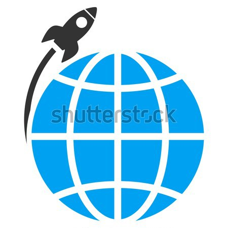 Planet Satellite Launch Flat Icon with Stock photo © ahasoft