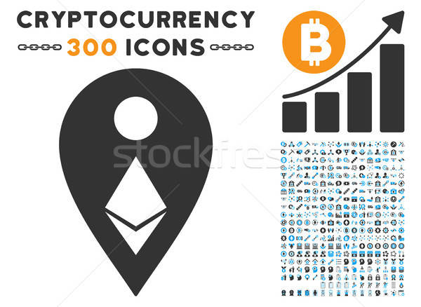 Ethereum Map Marker Flat Icon with Set Stock photo © ahasoft