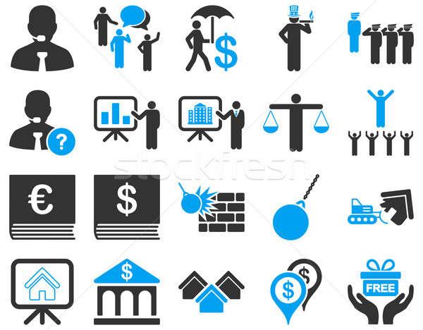 Bank szolgáltatás emberek foglalkozás ikon gyűjtemény szimbólumok Stock fotó © ahasoft