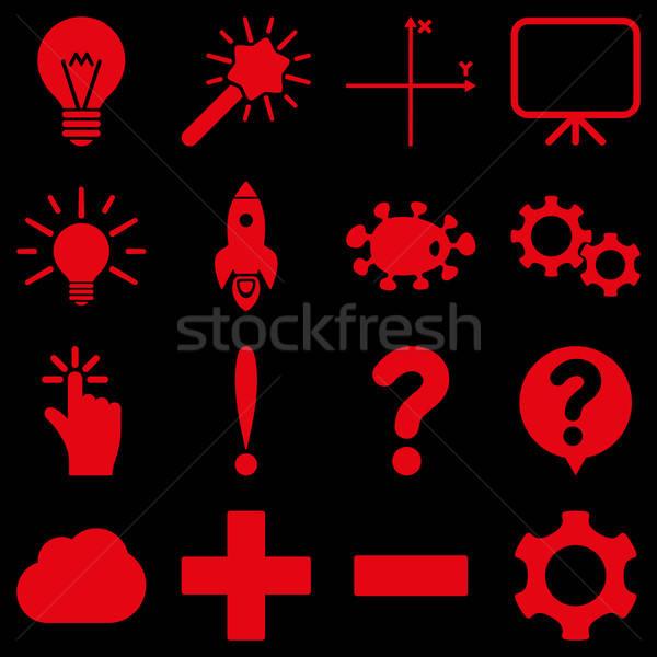 Alapvető tudomány tudás ikonok vektoros ikonok szimbólumok Stock fotó © ahasoft