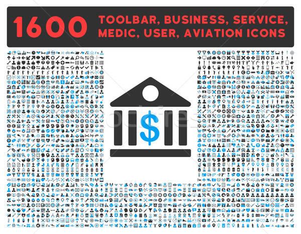 Banco icono grande pictograma colección vector Foto stock © ahasoft