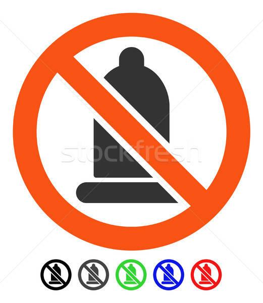 Verboden condoom icon vector pictogram gekleurd Stockfoto © ahasoft