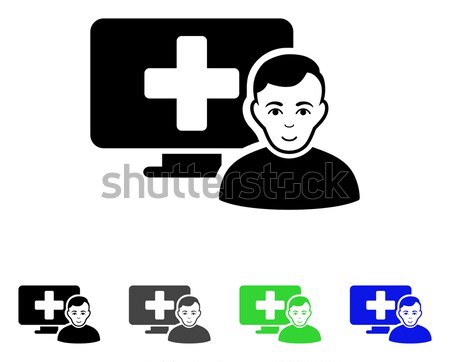 Hoofd geneeskunde icon gekleurd kleur zwarte Stockfoto © ahasoft