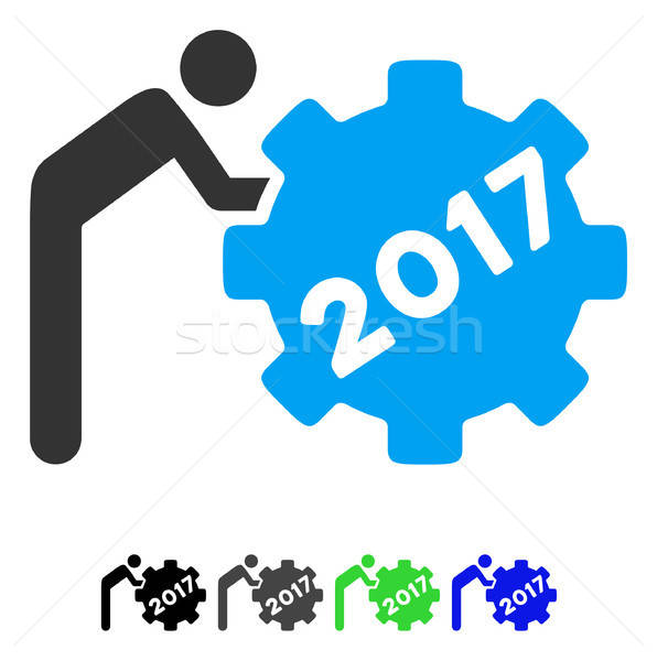 2017 Worker Rolling Gear Flat Icon Stock photo © ahasoft