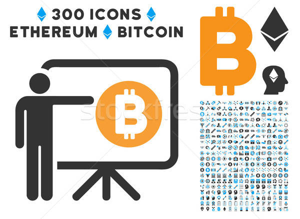 Bitcoin Lecture Board Flat Icon with Stock photo © ahasoft