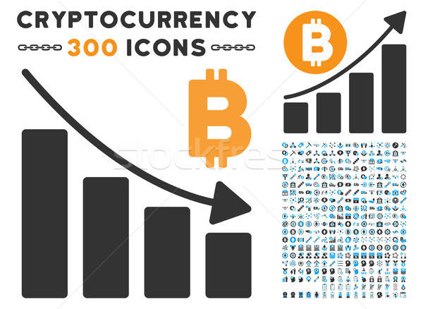 Bitcoin Recession Bar Chart Flat Icon with Clip Art Stock photo © ahasoft