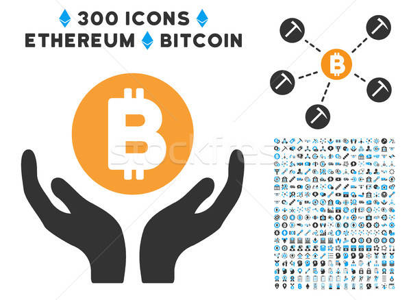 Bitcoin Support Hands Flat Icon with Clip Art Stock photo © ahasoft