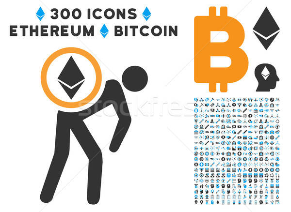 Ethereum Courier Man Flat Icon with Clip Art Stock photo © ahasoft