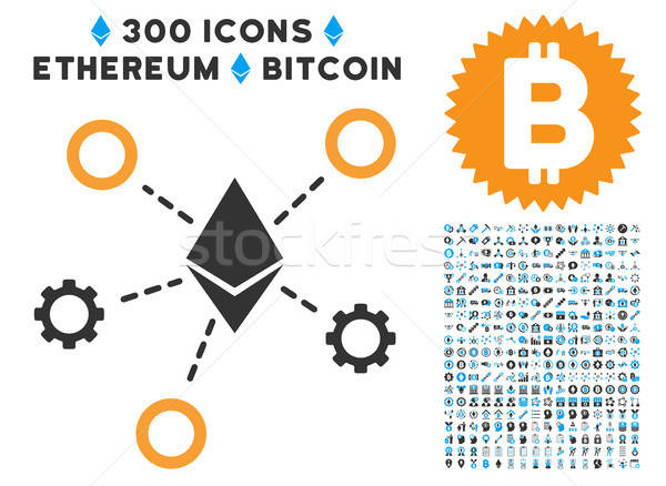Ethereum Network Nodes Flat Icon with Stock photo © ahasoft