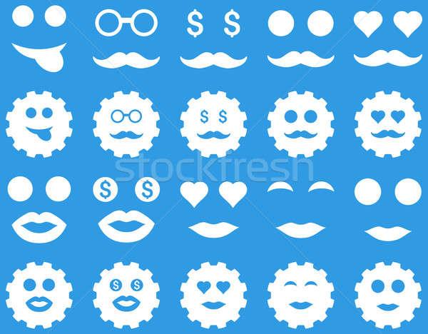 Szerszám viselet mosoly érzelem ikonok szett Stock fotó © ahasoft