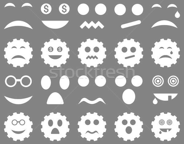Stock photo: Tool, gear, smile, emotion icons