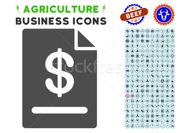 Facture icône agriculture gris commerciaux Photo stock © ahasoft