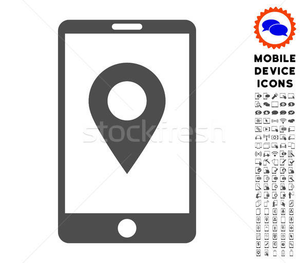 Mobile GPS Icon with Set Stock photo © ahasoft