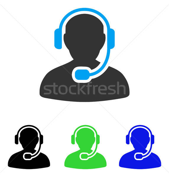 Call Center Worker Flat Icon Stock photo © ahasoft