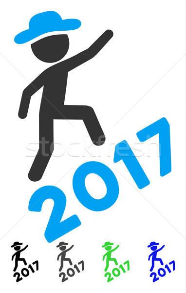Cavalheiro escalada ícone cinza preto azul Foto stock © ahasoft