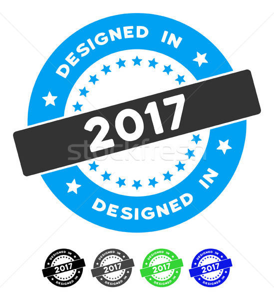 Designed In 2017 Stamp Flat Icon Stock photo © ahasoft